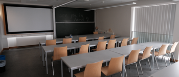 lecture room with board in the background, 3 rows of tables and chairs