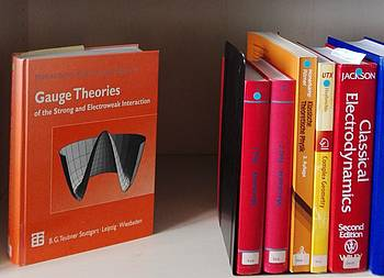 6 Physics textbooks on a library shelf. Among them: Gauge Theories, Classical Electrodynamics