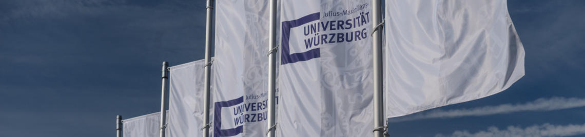 white flags with blue logo of the Würzburg University