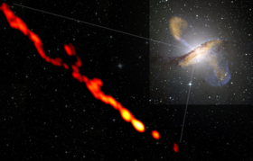 High-resolution view of a relativistic plasma jet ejected from the vicinity of a supermassive black hole at the center of the radio galaxy Centaurus A. The inset panel shows the large-scale submillimeter (orange), X-ray (blue) and the visible-light emission of the host galaxy.
